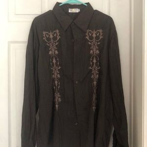Brown long sleeve embroidered button up
